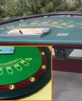 Deluxe Full BlackJack Mahogany Poker Table w/ Wooden H Legs