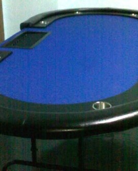Full Texas Hold'em Table with Foldable Steel Legs (Blue)