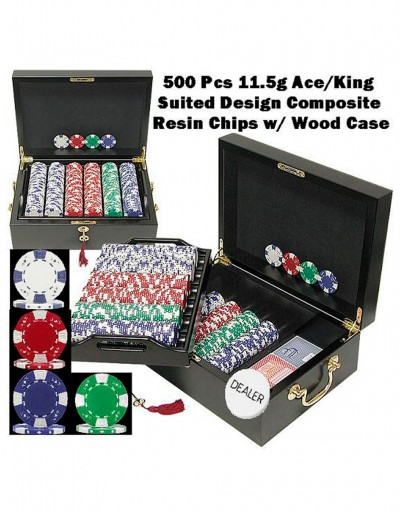Ace King Suited 500 Pcs 11.5g Composite Resin Chips - Wood