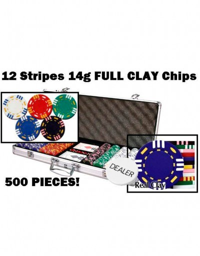 500 Pcs 12 Stripes 14g Real Clay Chips w/ Alumunium Case